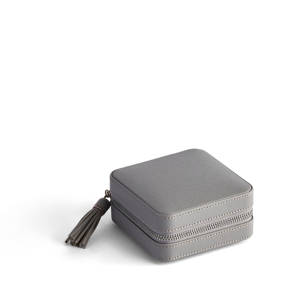 Park Zip Jewelry Case in Dove Grey Finish Closed Top