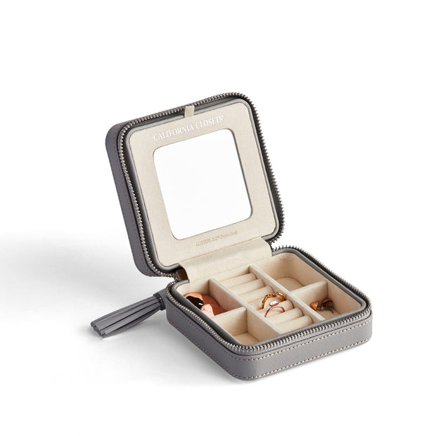Park Zip Jewelry Case in Dove Grey Finish