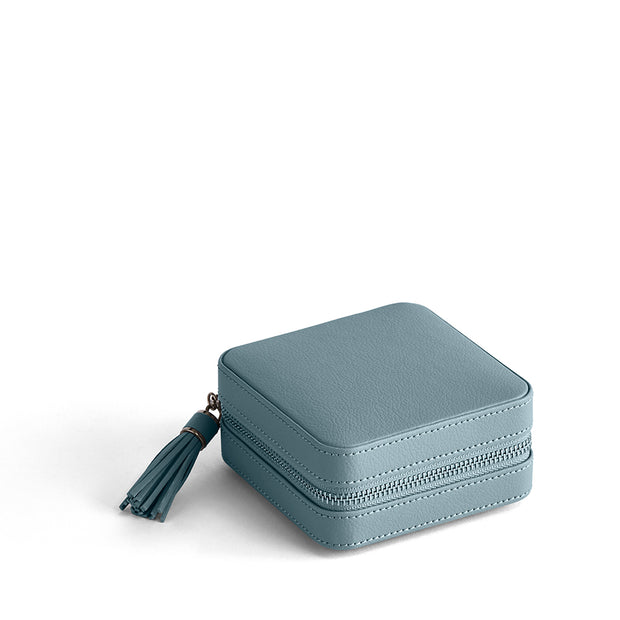 Park Zip Jewelry Case in Ice Blue Finish Closed Top