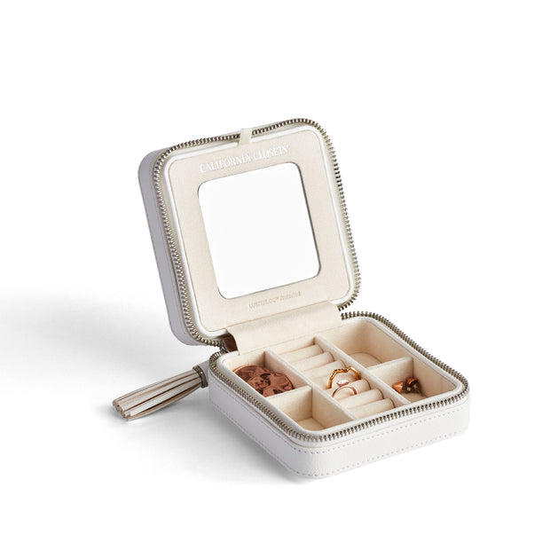 Park Zip Jewelry Case in White Finish
