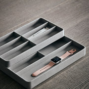 Presidio Smart Apple Watch Nesting Storage Trays in Dove Grey Finish on Table