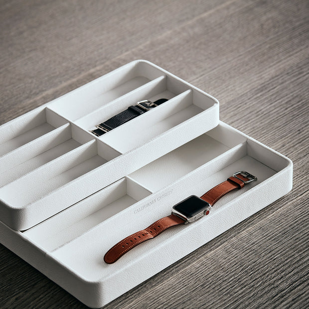 Presidio Smart Apple Watch Nesting Storage Trays in White Finish on Table