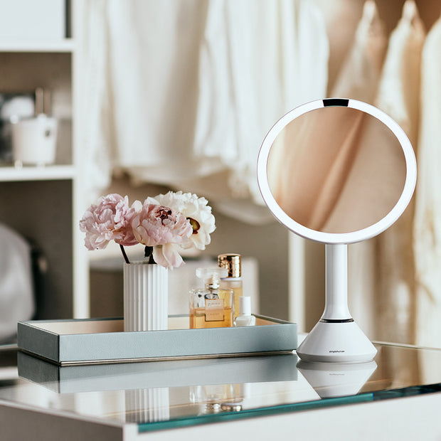 Simple Human Sensor Mirror in Stainless Steel on Vanity