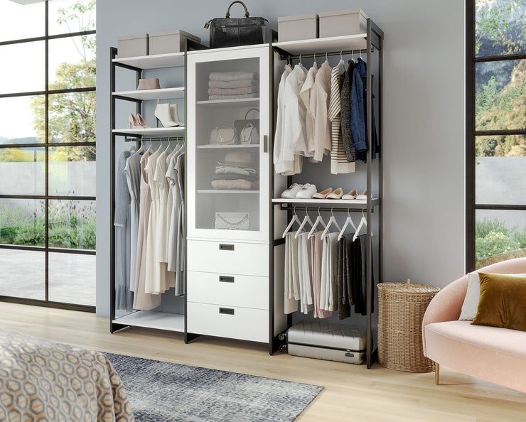 Example of Everyday System Closet in Perry Street White Woodgrain with Graphite Metal | California Closets