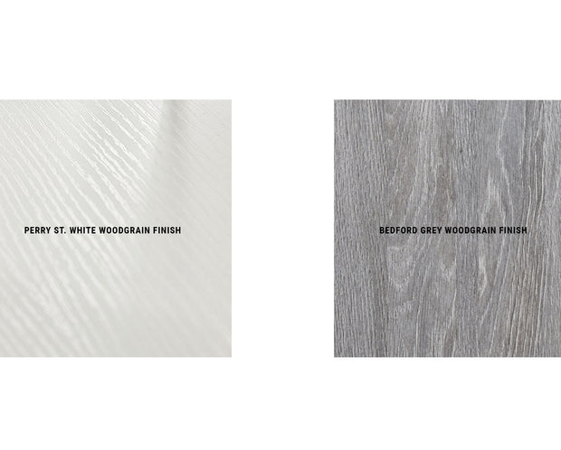 Perry Street White Woodgrain Finish and Bedford Grey Woodgrain Finish | California Closets