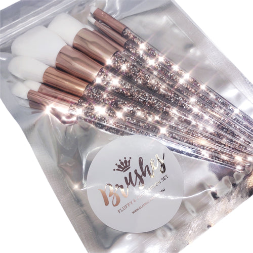 Rose gold super fluffy 8pc makeup brushes set