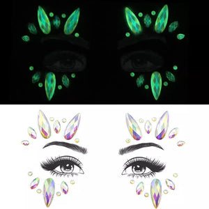 Glow in the dark face crystals