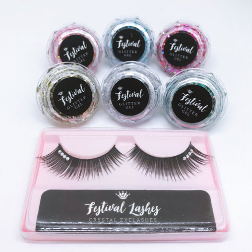 All 6 Diamond Glitter Gels & FREE Festival Lashes