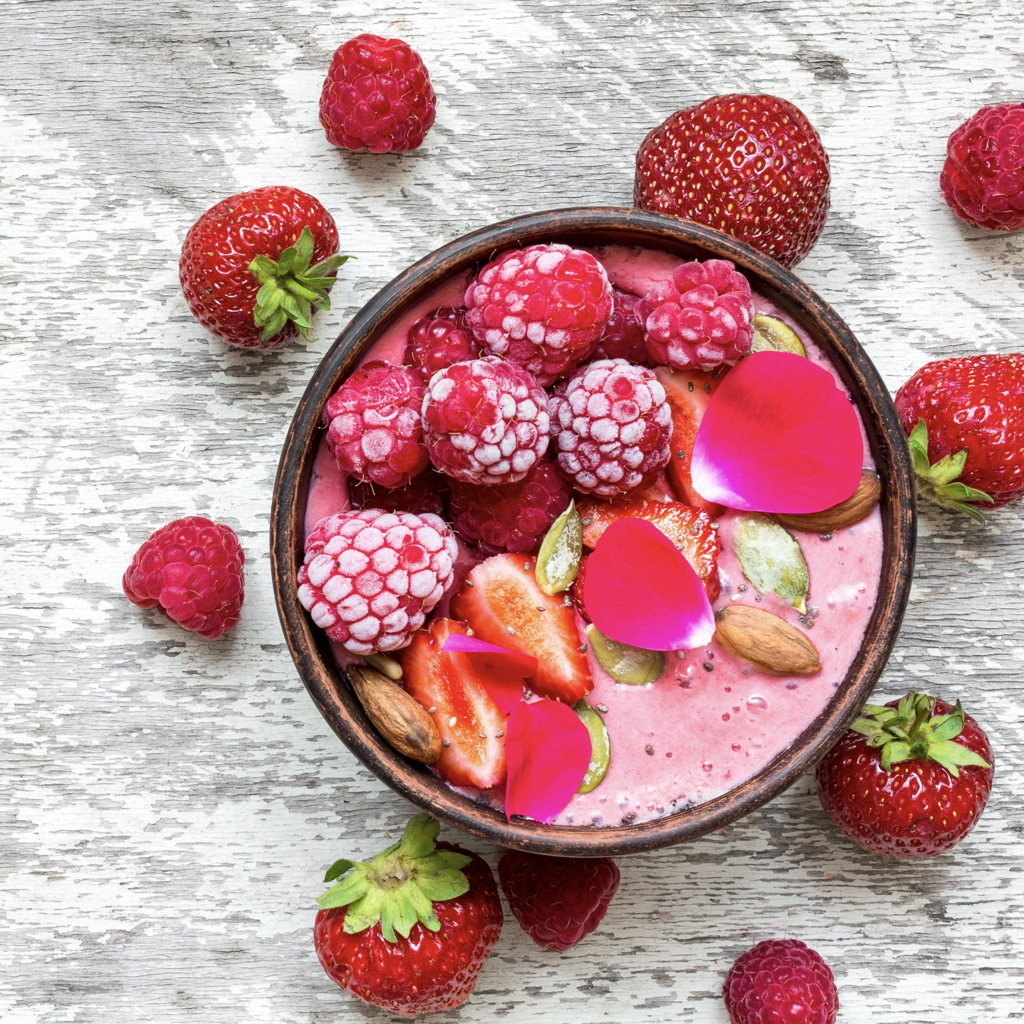 Strawberry Rose Yogurt Bowl