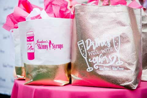 Custom tote bags for party guests jordan skinny mixes branded