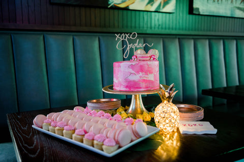 pink cake and pink desserts for pink themed party
