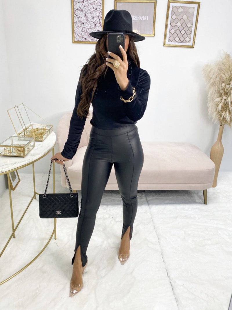 Faux leather black single split leggings