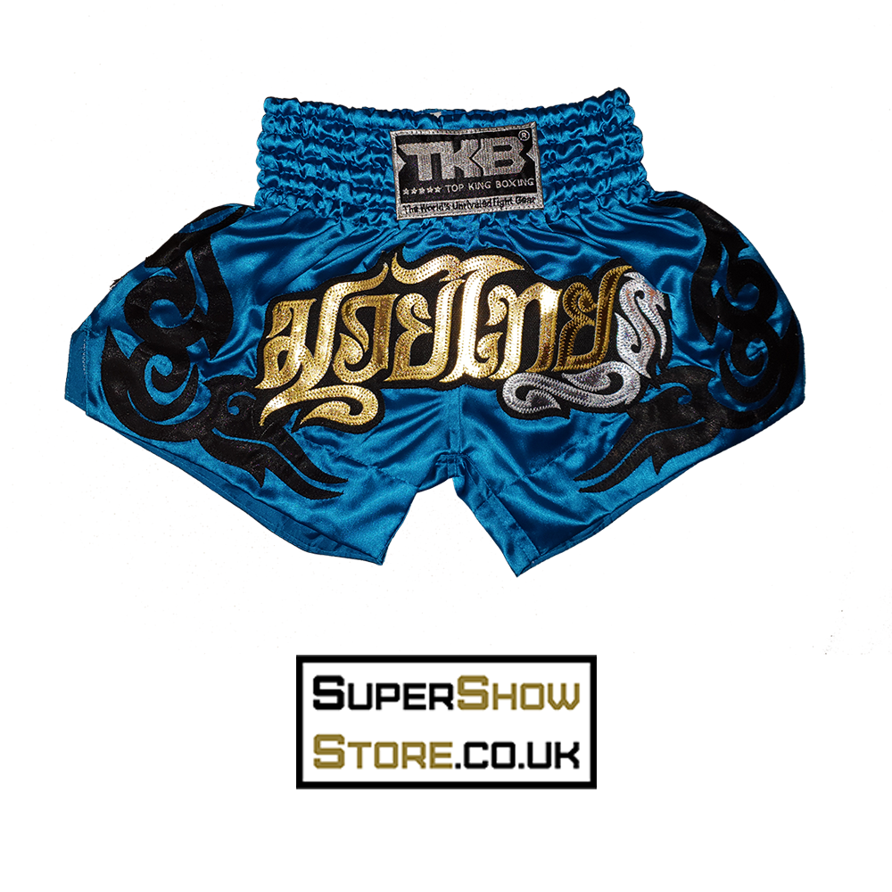 Top King Muay Thai Shorts - Neon Blue