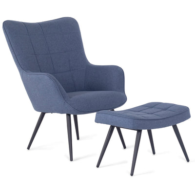Jackson - Sessel mit Hocker, Blau