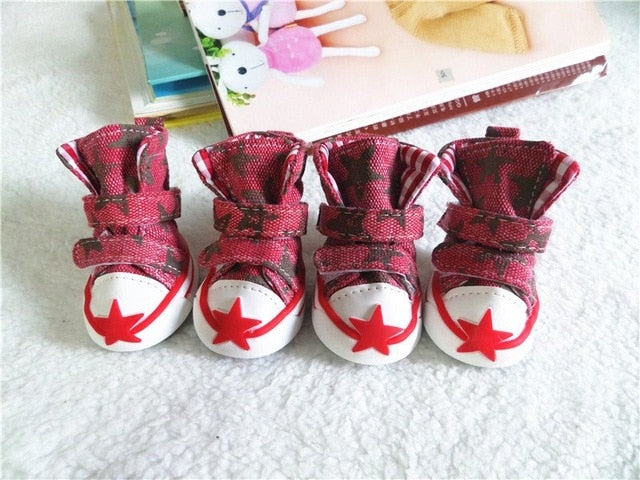 Dog Shoes Cute Stars Puppy Boot Outdoor Casual Canvas Sneakers