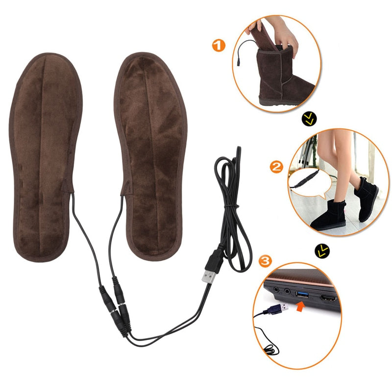 THINKTHENDO New USB Electric Powered Plush Fur Heating Insoles Winter Keep Warm Foot Shoes Insole