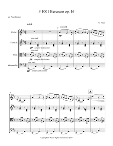 Gabriel Fauré: Berceuse, Op. 16 – Arrangement for String Quartet by Peter Breiner (PB112)