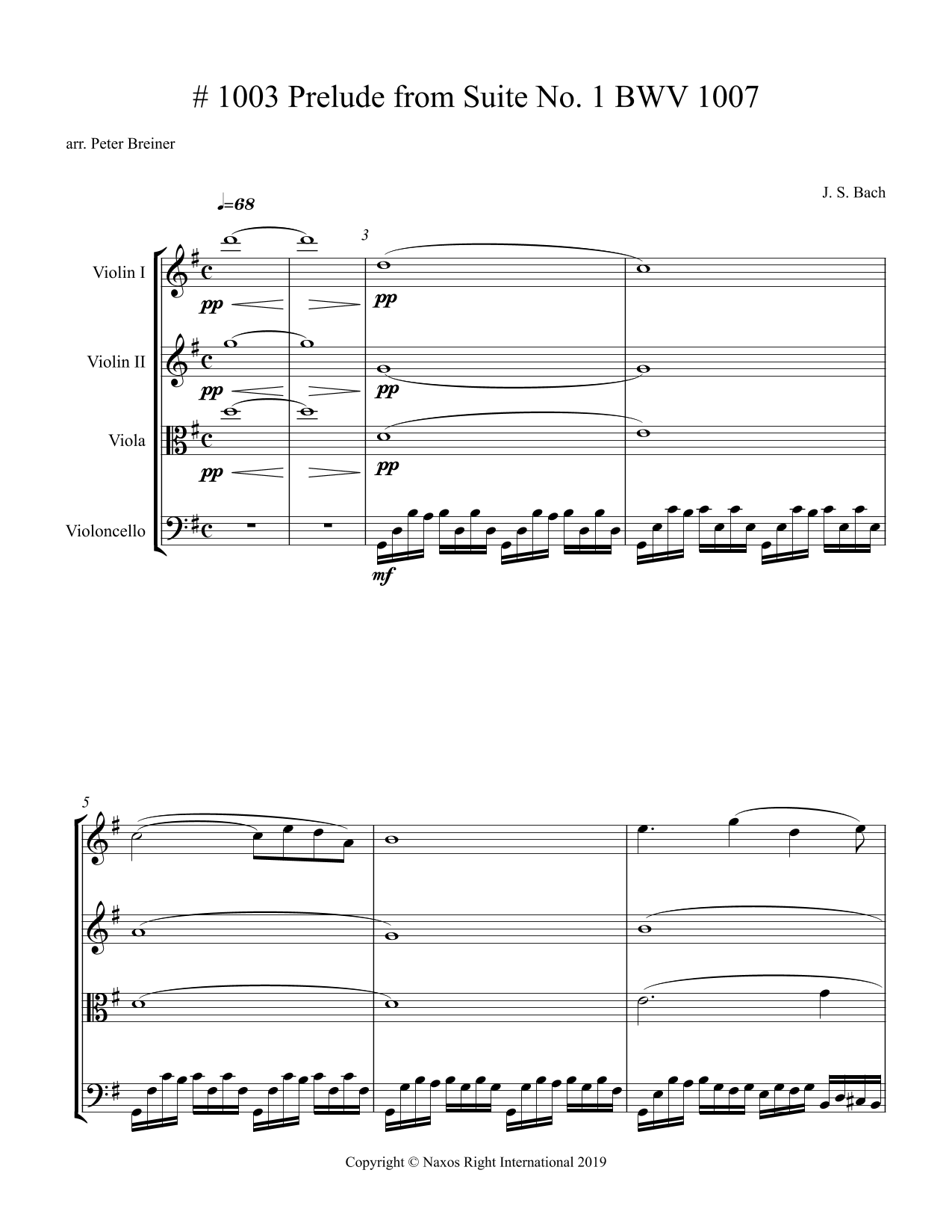 J.S. Bach: Prelude from Suite No.1, BWV 1007 – Arrangement for String Quartet by Peter Breiner (PB114)