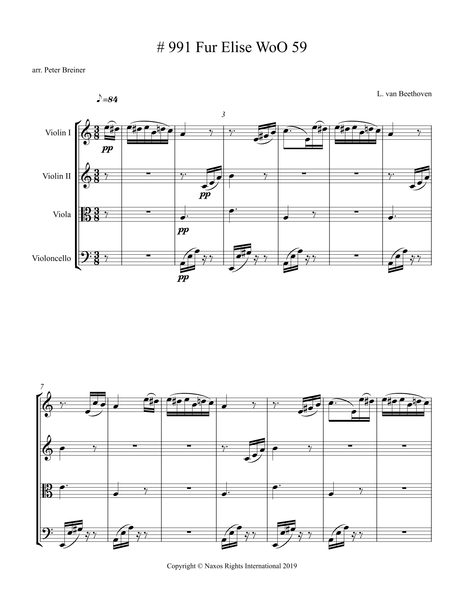 Ludwig van Beethoven: Für Elise, WoO 59 – Arrangement for String Quartet by Peter Breiner (PB102)