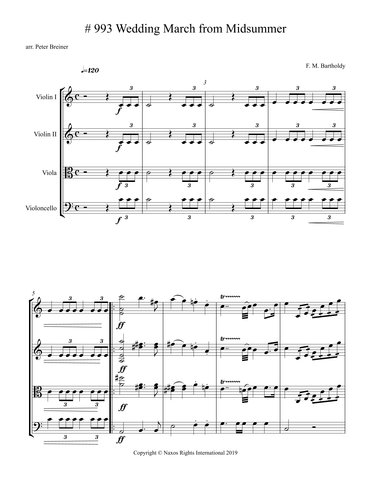 Felix Mendelssohn Bartholdy: Wedding March from Midsummer – Arrangement for String Quartet by Peter Breiner (PB104)