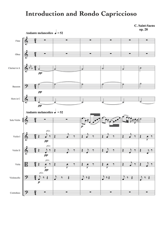 Saint-Saens, Camille: Introduction and Rondo Capriccioso, Op.28 (arr. for String Quintet & Wind Quintet) (AEGC22)