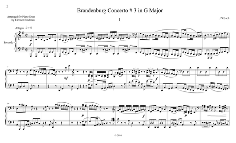J.S. Bach: Brandenburg Concerto No. 3, BWV 1048 – arranged for piano duet by Eleonor Bindman (GPC040)