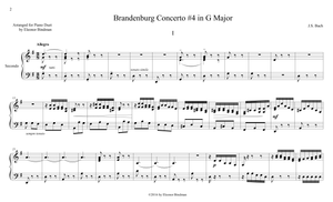J.S. Bach: Brandenburg Concerto No. 4, BWV 1049 – arranged for piano duet by Eleonor Bindman (GPC041)