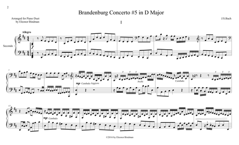 J.S. Bach: Brandenburg Concerto No. 5, BWV 1050 – arranged for piano duet by Eleonor Bindman (GPC042)