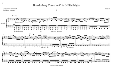 J.S. Bach: Brandenburg Concerto No. 6, BWV 1051 – arranged for piano duet by Eleonor Bindman (GPC043)