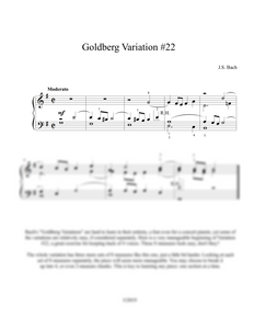 J.S. Bach: Goldberg Variation No. 22, BWV 988 – arranged for piano by Eleonor Bindman