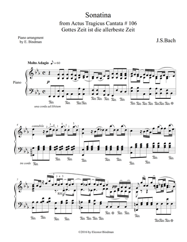 J.S. Bach: Gottes Zeit – arranged for piano by Eleonor Bindman