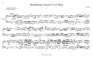 J.S. Bach: Brandenburg Concerto No. 1, BWV 1046 – arranged for piano duet by Eleonor Bindman (GPC038)