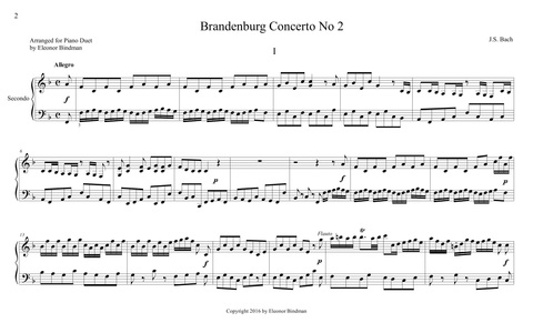 J.S. Bach: Brandenburg Concerto No. 2, BWV 1047 – arranged for piano duet by Eleonor Bindman (GPC039)