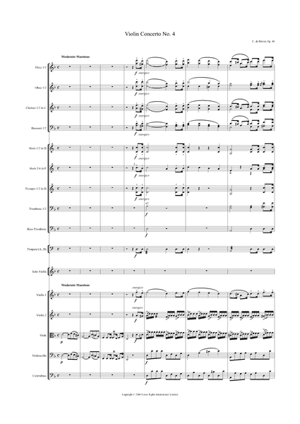 Charles Auguste de Bériot: Violin Concerto No. 4 in D Minor, Op. 46 – full score (NXP001)