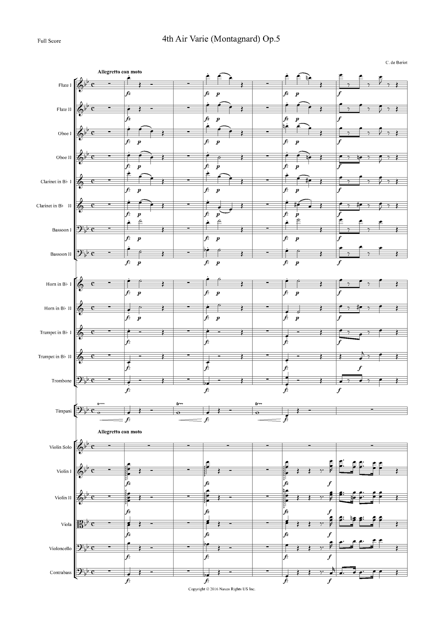"Charles Auguste de Bériot: Air Varié No. 4 in B-Flat Major, Op. 5, ""Montagnard"" (version for violin and orchestra) – full score (NXP004)"