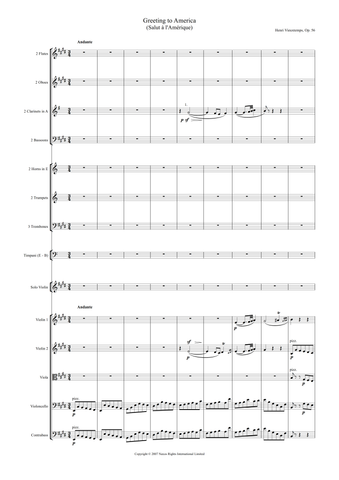 Henry Vieuxtemps: Greeting to America, Op. 56 (version for violin and orchestra) – full score (NXP008)