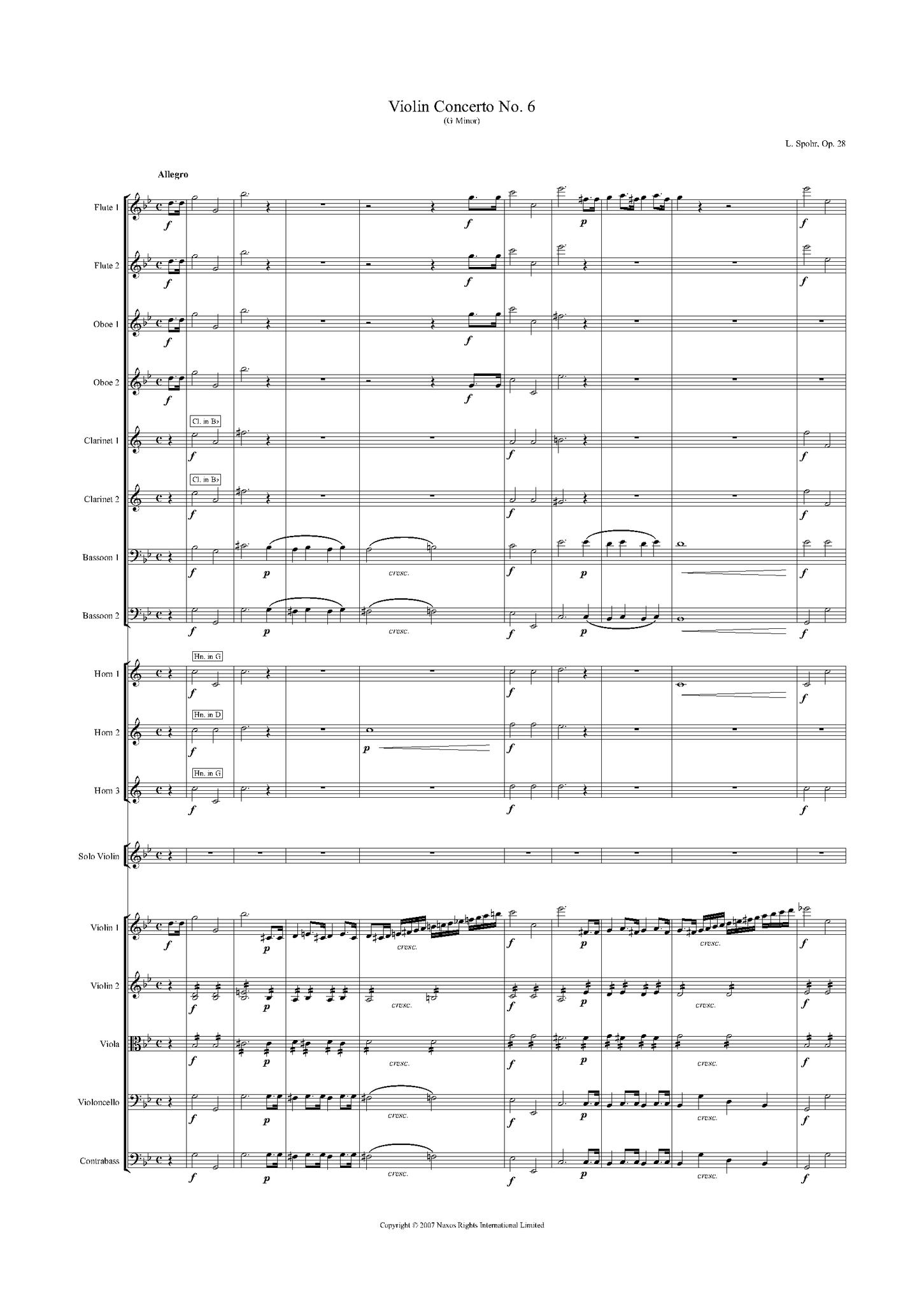 Louis Spohr: Violin Concerto No. 6 in G Minor, Op. 28 – full score (NXP009)