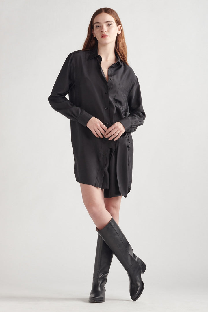 Silk Wrap Tie Shirt Dress