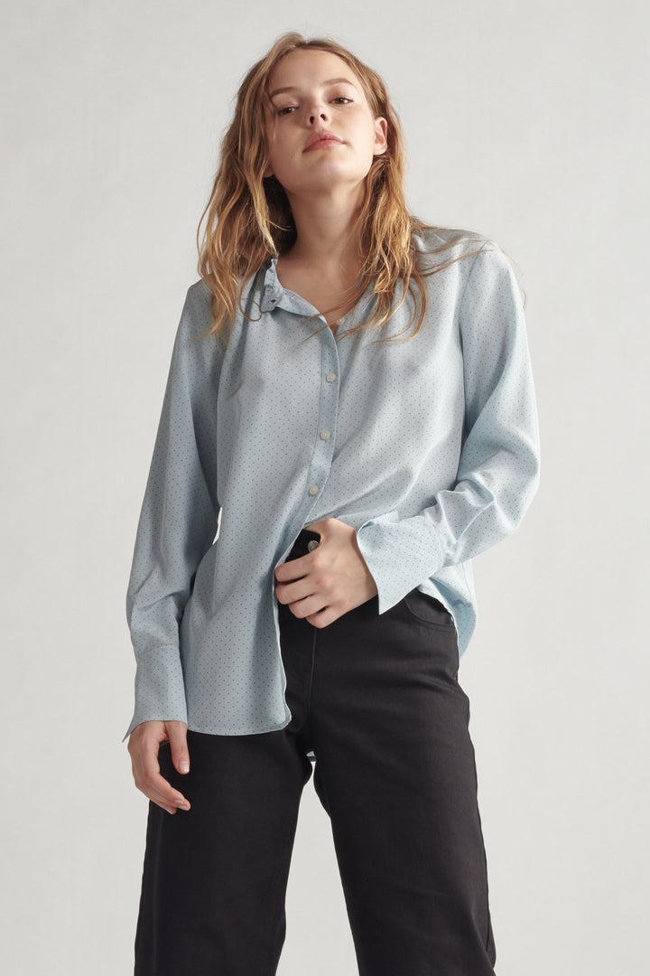 Silk Smocked Neck Buttondown