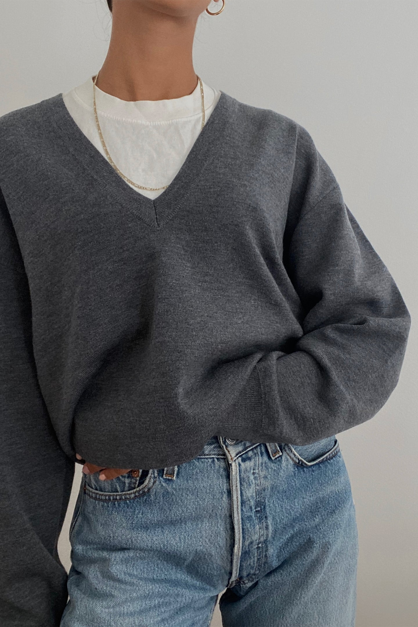 Deep V-Neck Cropped Sweater