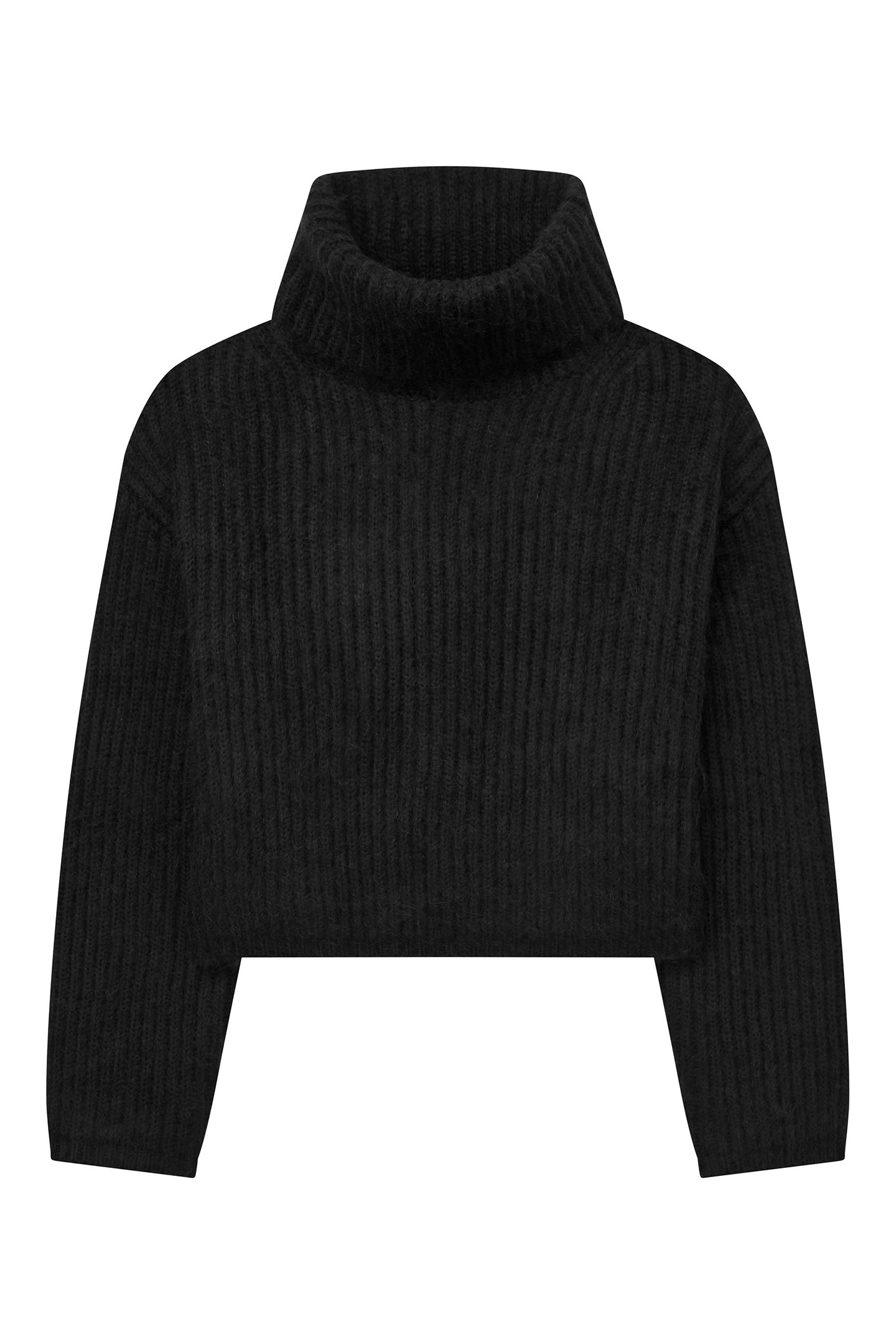 Cropped Ribbed Turtleneck Sweater