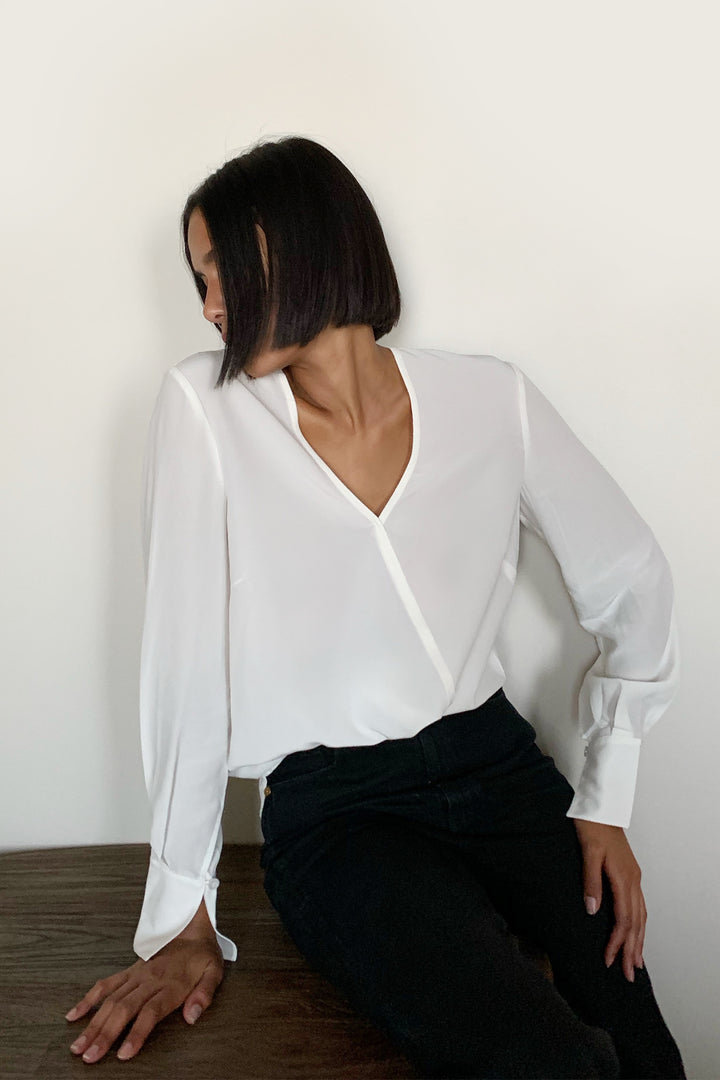Silk Wrap-Effect Silk Blouse