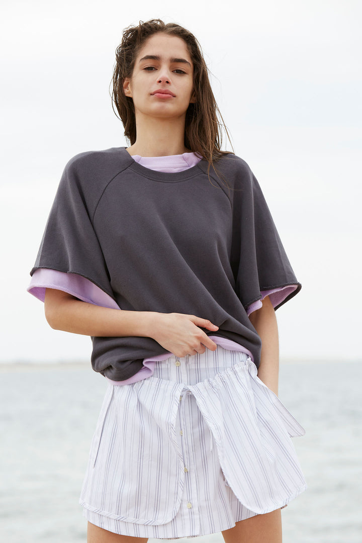 Brushed Relaxed Short Sleeve Sweatshirt