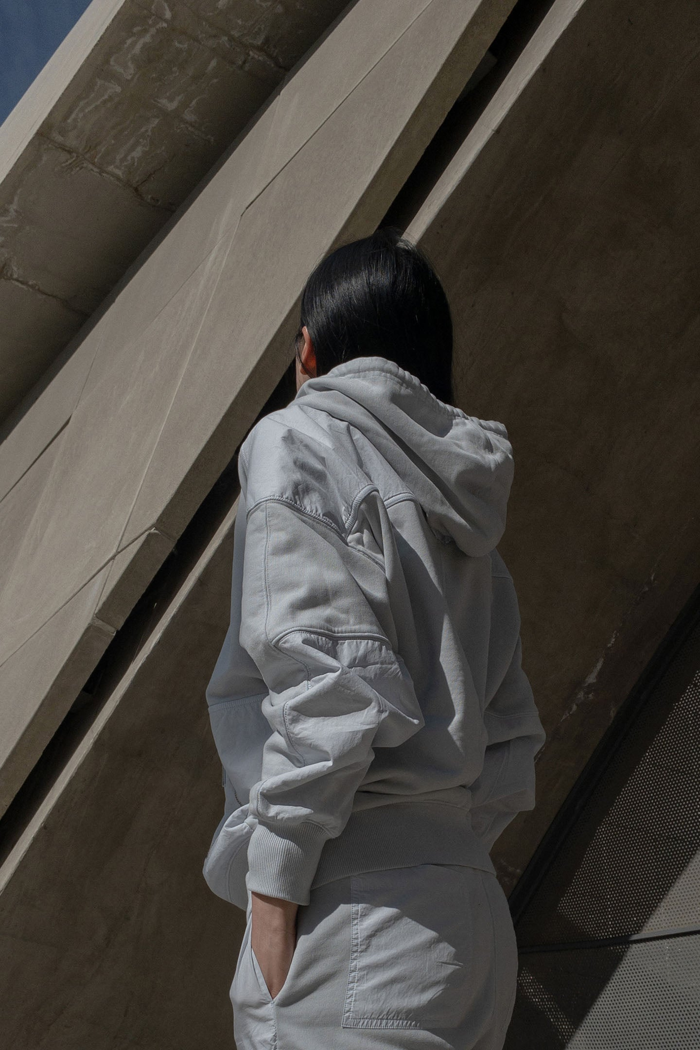 Paneled Hooded Sweatshirt