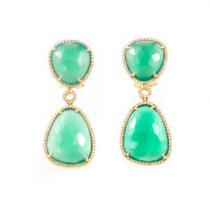 Green Chalcedony and Diamonds