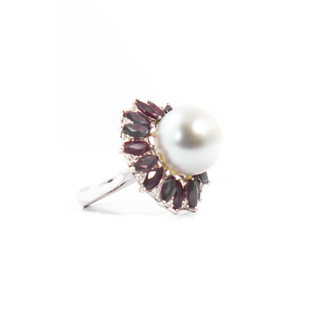 South Sea Pearl and Ruby Ring