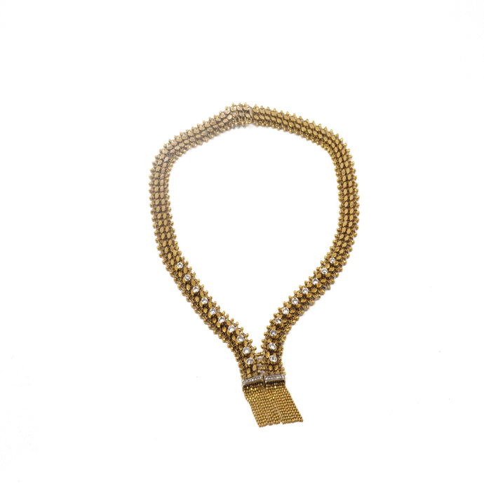 Gold and diamond Zip Necklace