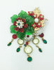 Stanley Hagler N.Y.C. Emerald Flower in Crystals Brooch