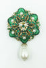 Stanley Hagler N.Y.C. Green Crystal and Pearl Flower Brooch with Pearl Drop