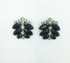 Miriam Haskell Black and Clear Rhinestone Bracelet and Earrings